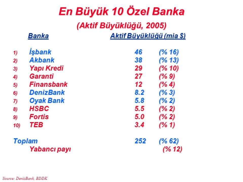 En Büyük 10 Özel Banka (Aktif Büyüklüğü, 2005)