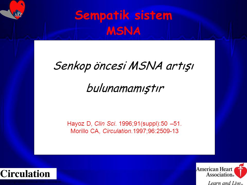 Sempatik sistem MSNA Senkop öncesi MSNA artışı bulunamamıştır