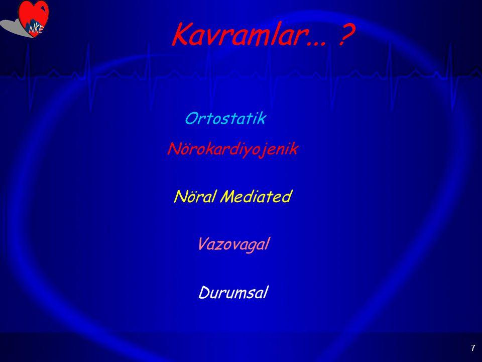 Kavramlar... Ortostatik Nörokardiyojenik Nöral Mediated Vazovagal