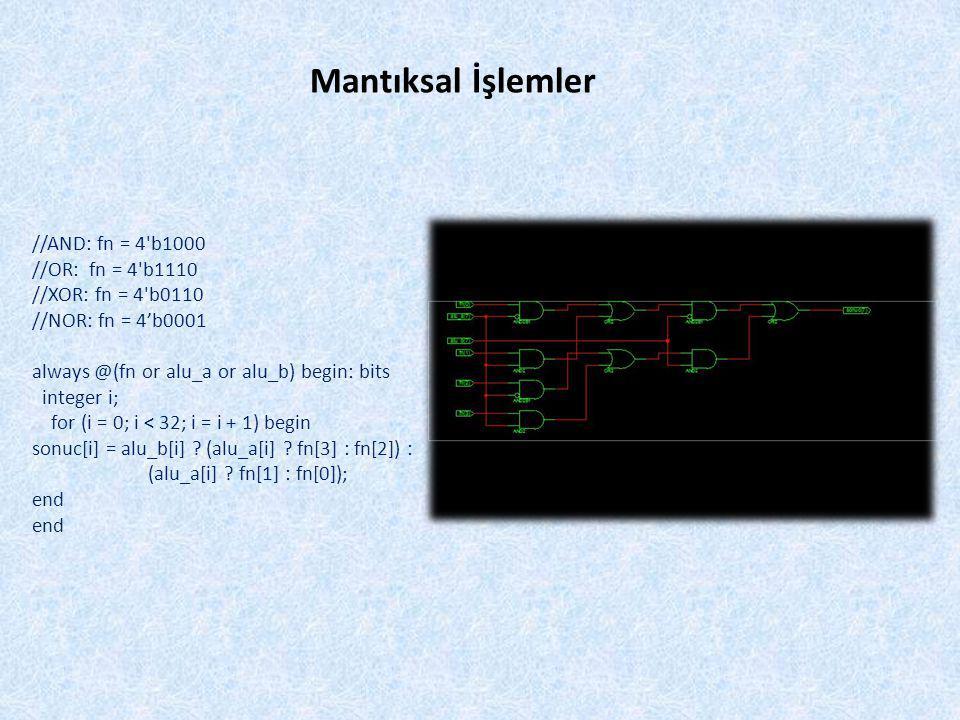 Mantıksal İşlemler //AND: fn = 4 b1000 //OR: fn = 4 b1110