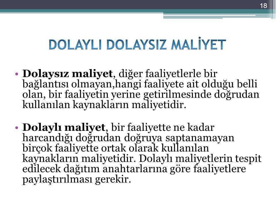 DOLAYLI DOLAYSIZ MALİYET