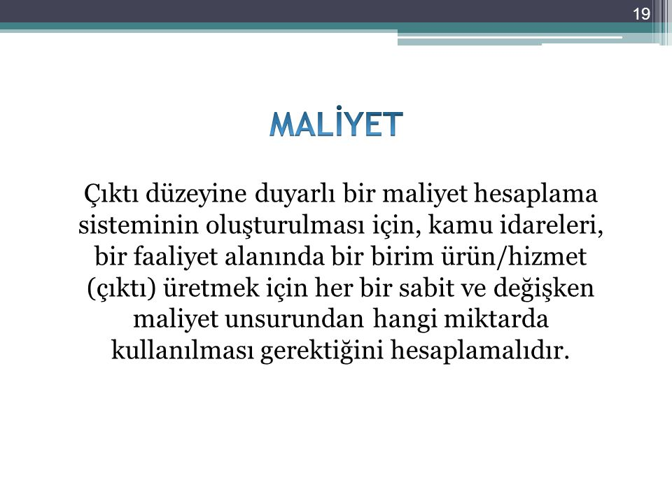 MALİYET