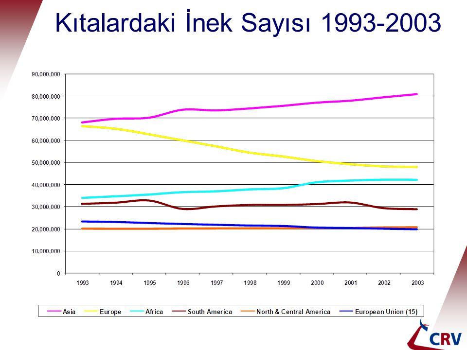 Kıtalardaki İnek Sayısı 1993-2003