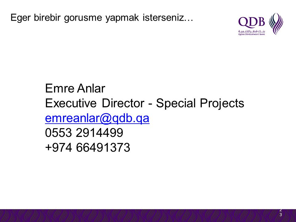 Executive Director - Special Projects emreanlar@qdb.qa 0553 2914499