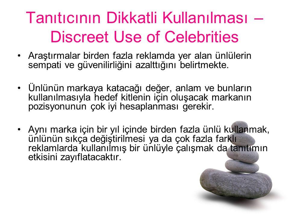 Tanıtıcının Dikkatli Kullanılması – Discreet Use of Celebrities