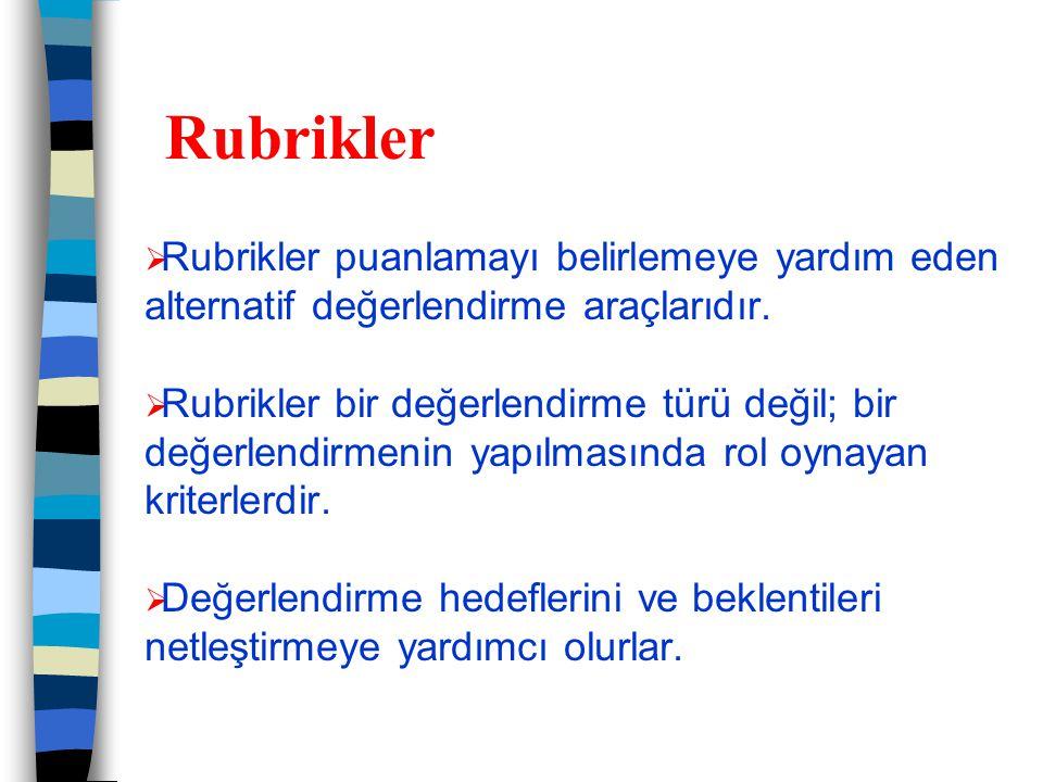 Rubrikler Rubrikler puanlamayı belirlemeye yardım eden alternatif değerlendirme araçlarıdır.