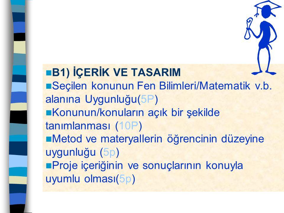 B1) İÇERİK VE TASARIM Seçilen konunun Fen Bilimleri/Matematik v.b. alanına Uygunluğu(5P) Konunun/konuların açık bir şekilde tanımlanması (10P)