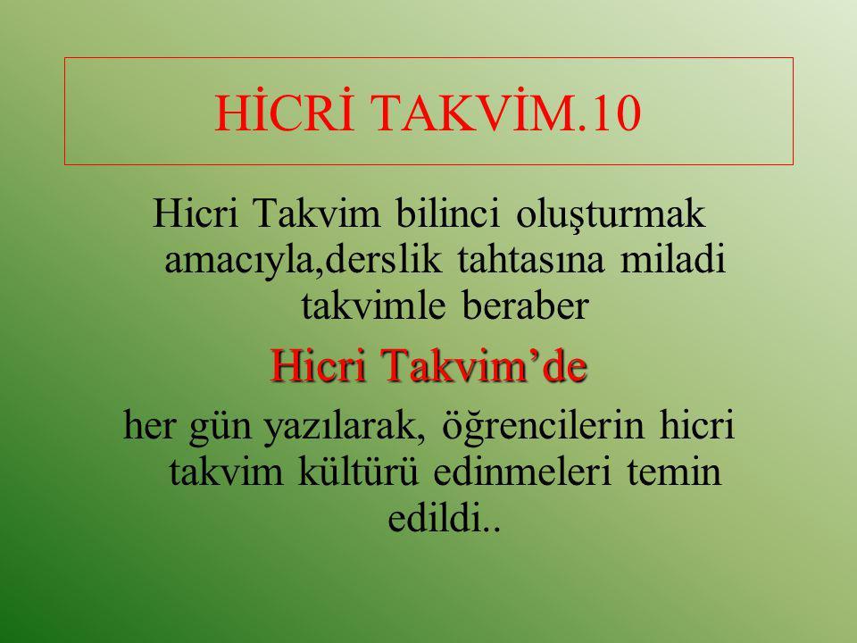HİCRİ TAKVİM.10 Hicri Takvim'de