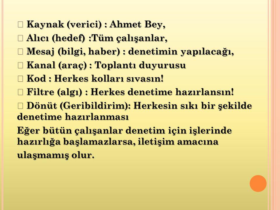  Kaynak (verici) : Ahmet Bey,  Alıcı (hedef) :Tüm çalışanlar,  Mesaj (bilgi, haber) : denetimin yapılacağı,  Kanal (araç) : Toplantı duyurusu  Kod : Herkes kolları sıvasın.
