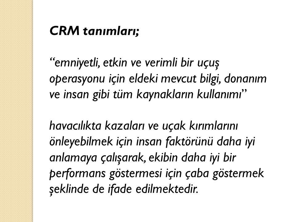 CRM tanımları; emniyetli, etkin ve verimli bir uçuş operasyonu için eldeki mevcut bilgi, donanım ve insan gibi tüm kaynakların kullanımı