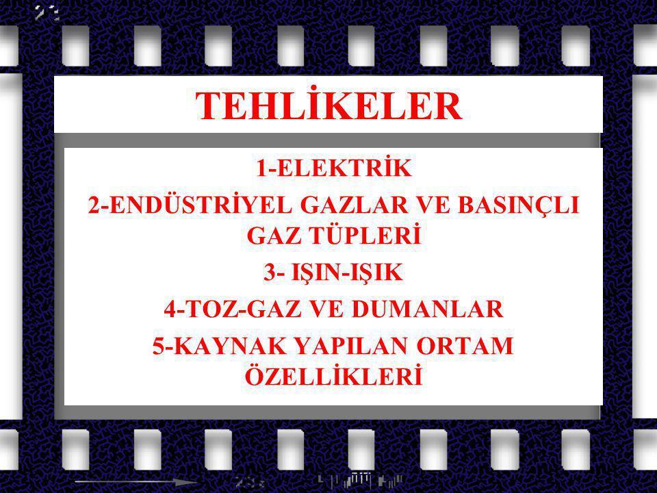 TEHLİKELER 1-ELEKTRİK 2-ENDÜSTRİYEL GAZLAR VE BASINÇLI GAZ TÜPLERİ