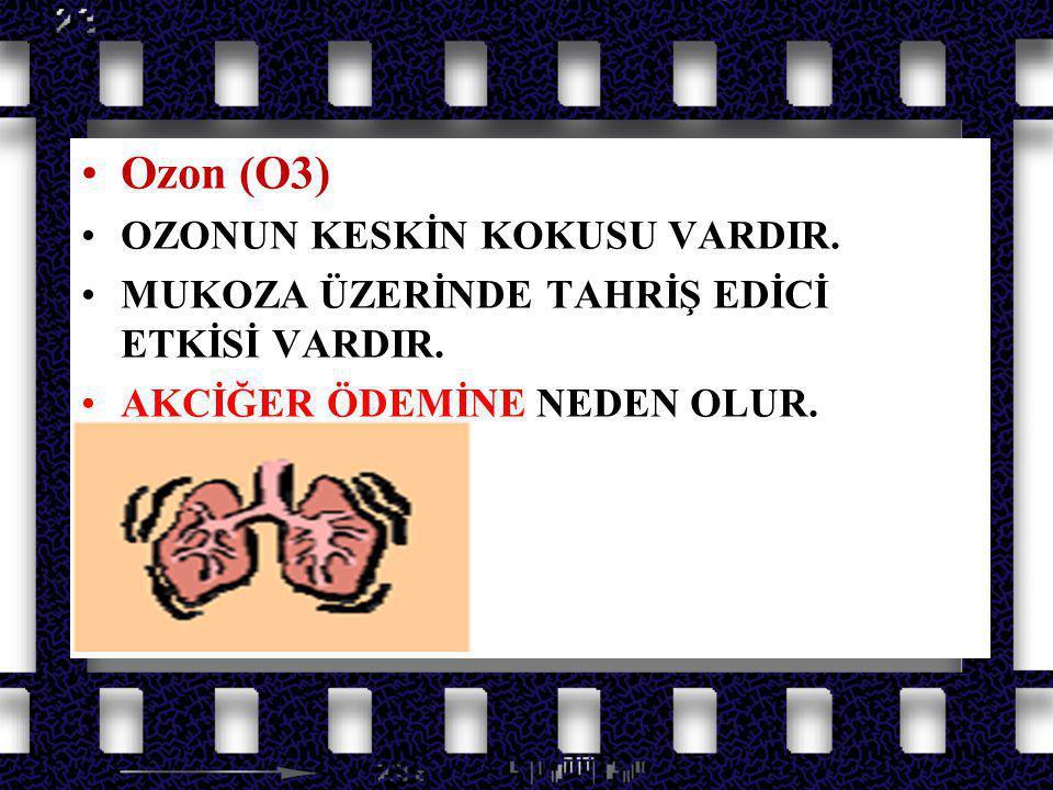 Azot Oksit Gazları Ozon (O3) OZONUN KESKİN KOKUSU VARDIR.