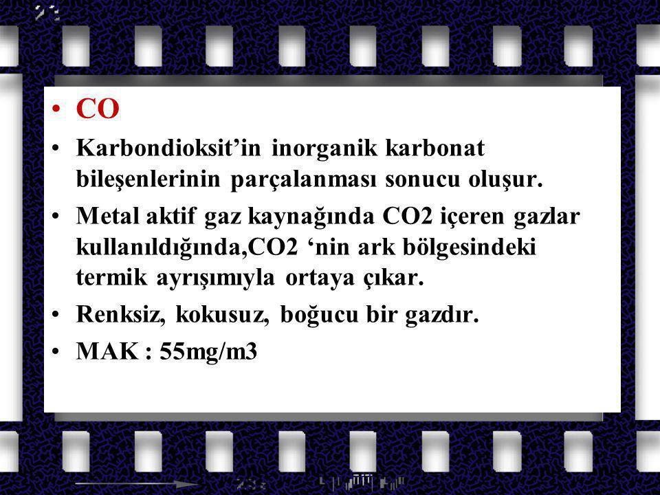 Azot Oksit Gazları CO. Karbondioksit'in inorganik karbonat bileşenlerinin parçalanması sonucu oluşur.