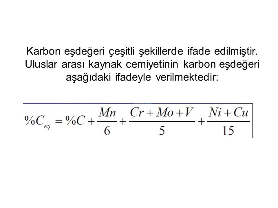 Karbon eşdeğeri çeşitli şekillerde ifade edilmiştir
