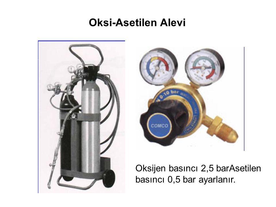 Oksi-Asetilen Alevi Oksijen basıncı 2,5 barAsetilen basıncı 0,5 bar ayarlanır.