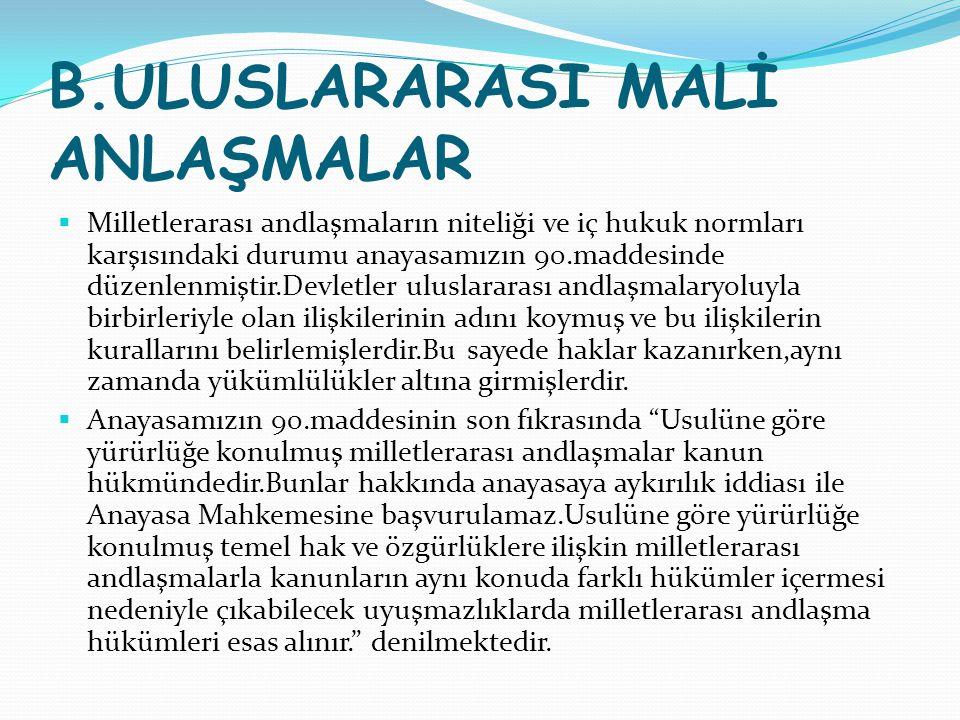 B.ULUSLARARASI MALİ ANLAŞMALAR