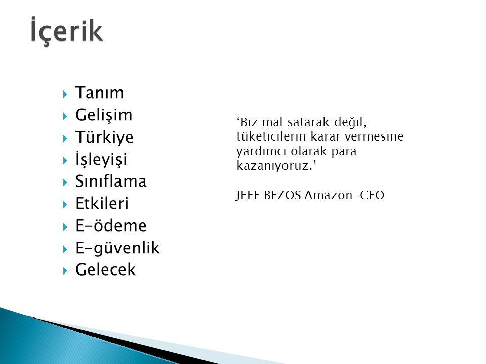 İçerik Tanım Gelişim Türkiye İşleyişi Sınıflama Etkileri E-ödeme