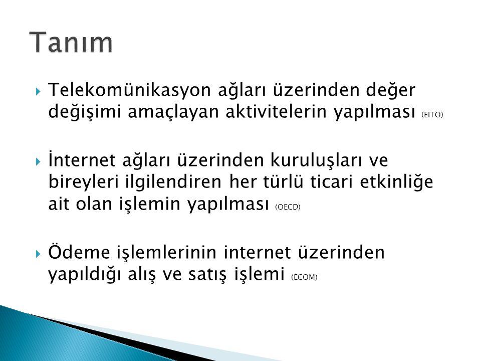 Tanım Telekomünikasyon ağları üzerinden değer değişimi amaçlayan aktivitelerin yapılması (EITO)