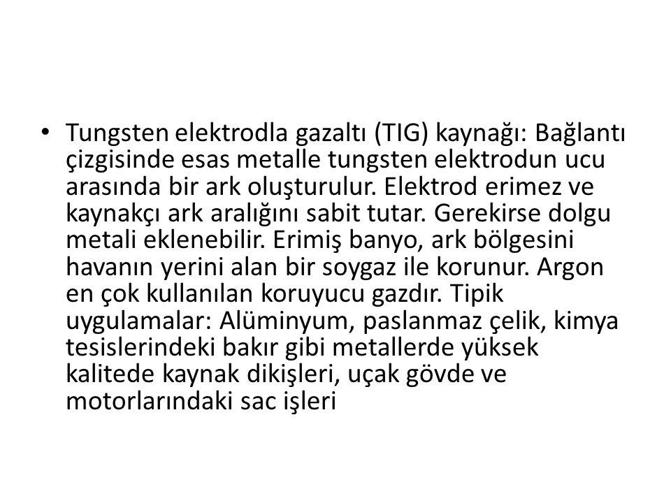 Tungsten elektrodla gazaltı (TIG) kaynağı: Bağlantı çizgisinde esas metalle tungsten elektrodun ucu arasında bir ark oluşturulur.