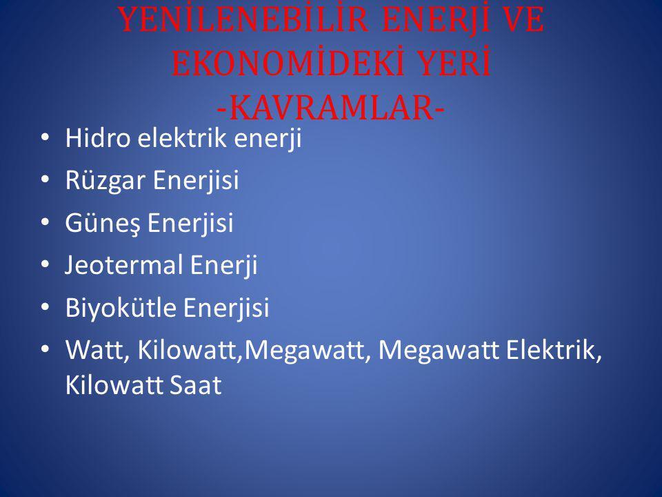 YENİLENEBİLİR ENERJİ VE EKONOMİDEKİ YERİ -KAVRAMLAR-