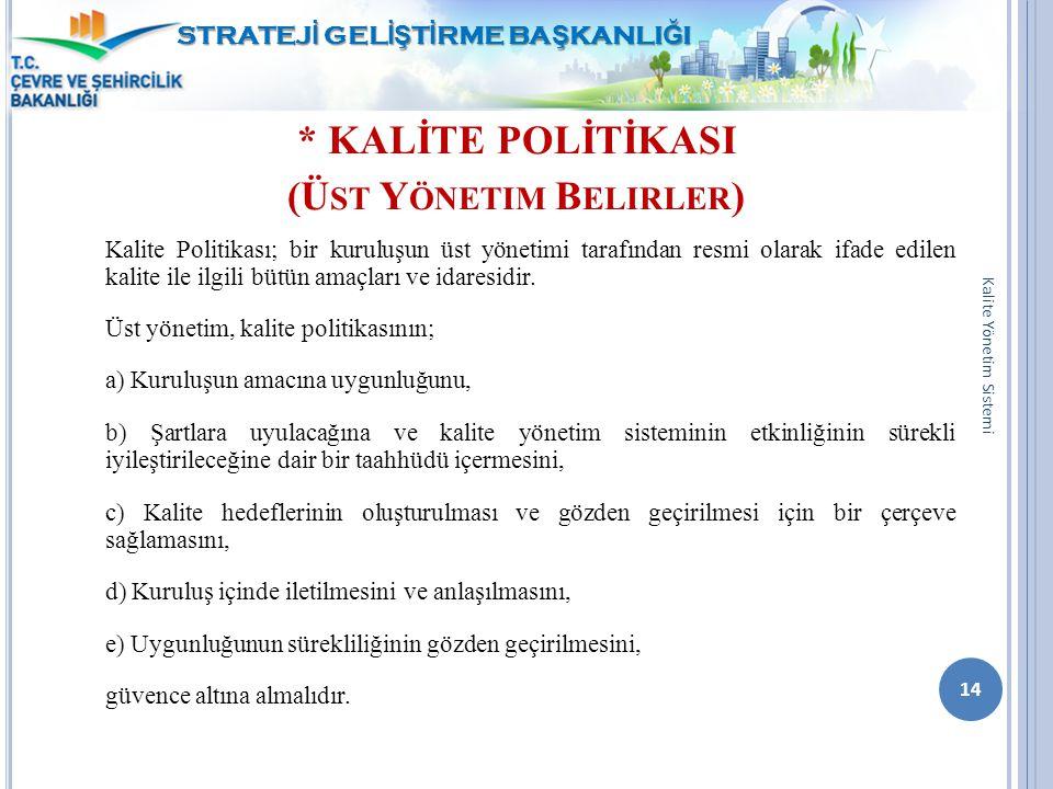 * KALİTE POLİTİKASI (Üst Yönetim Belirler)
