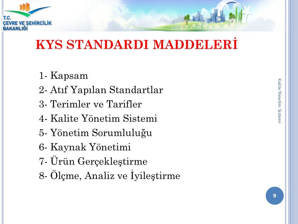 KYS STANDARDI MADDELERİ