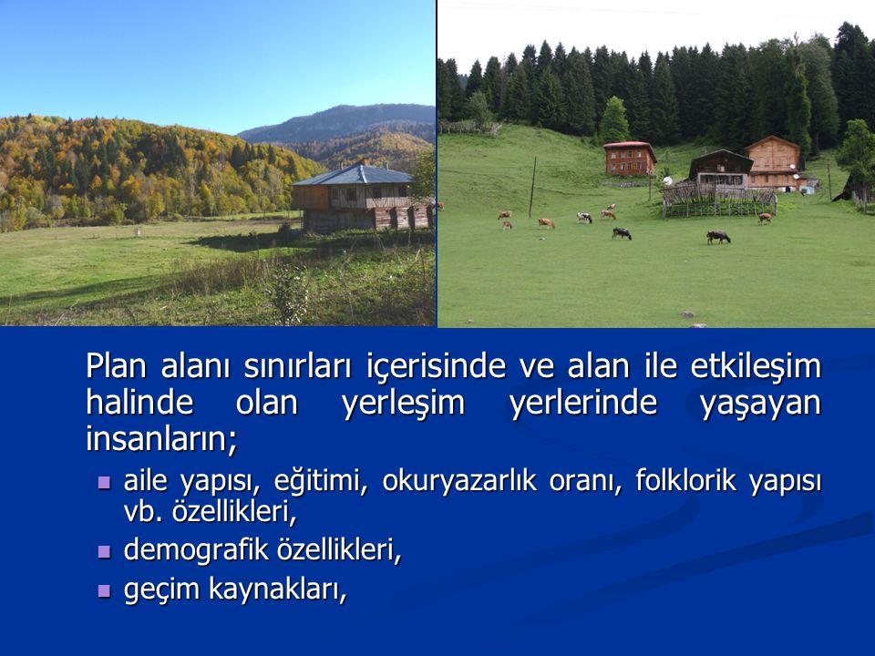 Plan alanı sınırları içerisinde ve alan ile etkileşim halinde olan yerleşim yerlerinde yaşayan insanların;