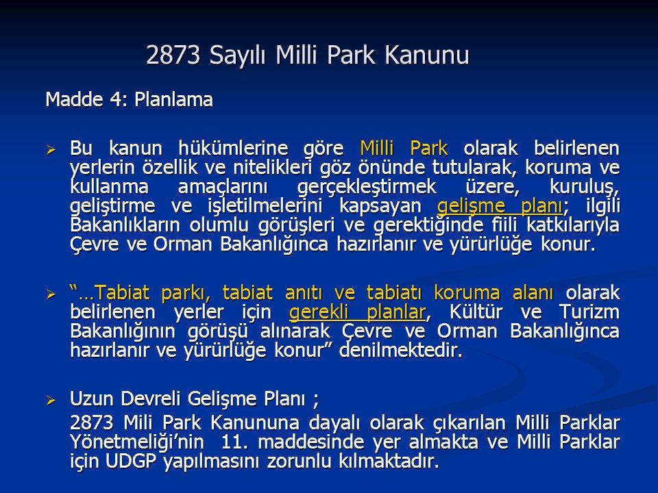 2873 Sayılı Milli Park Kanunu