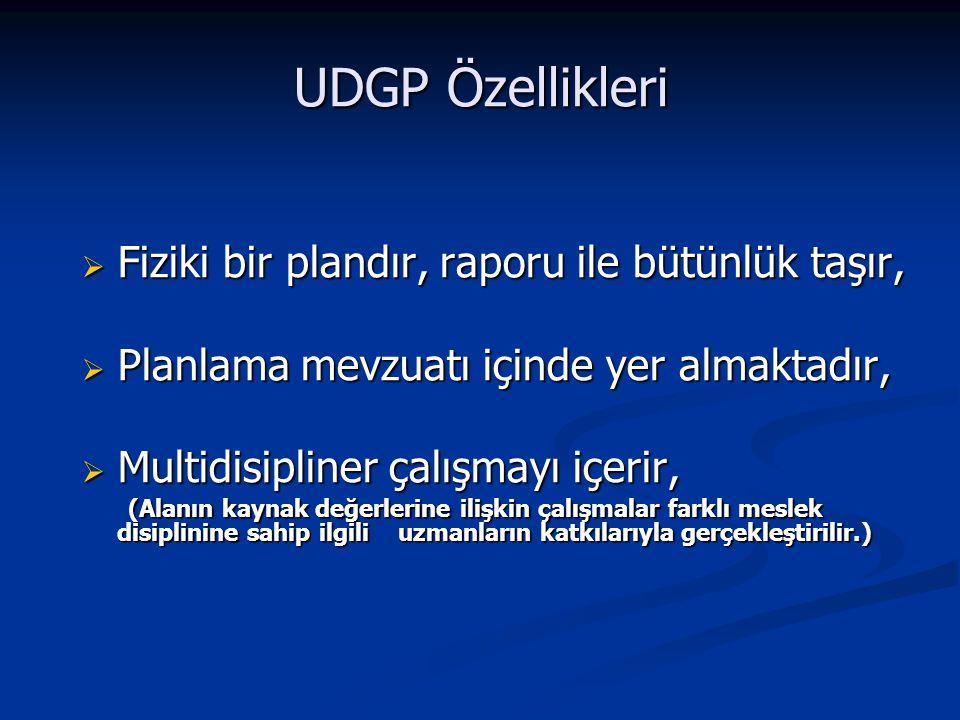 UDGP Özellikleri Fiziki bir plandır, raporu ile bütünlük taşır,
