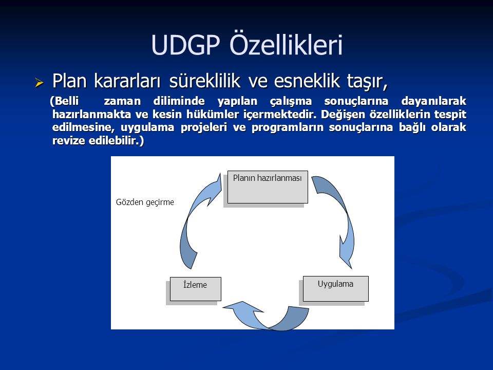 UDGP Özellikleri Plan kararları süreklilik ve esneklik taşır,