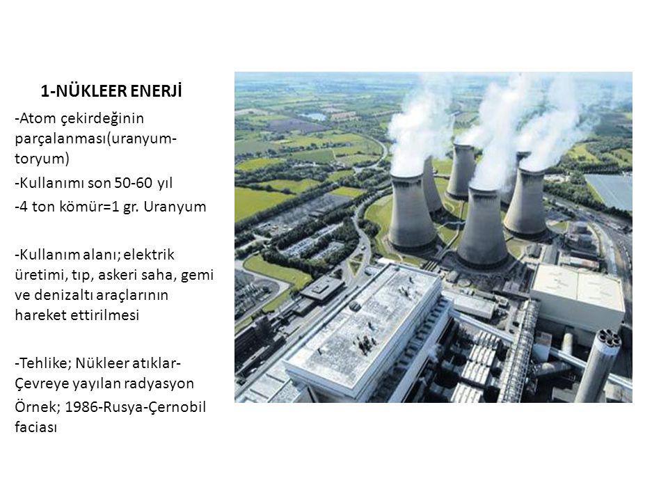 1-NÜKLEER ENERJİ -Atom çekirdeğinin parçalanması(uranyum-toryum)