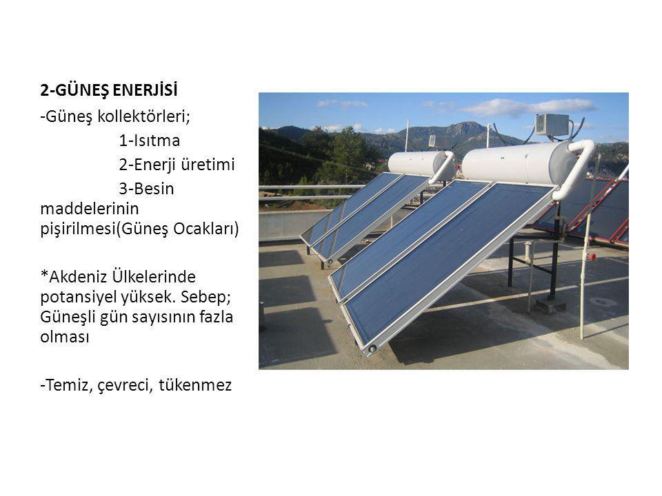 2-GÜNEŞ ENERJİSİ -Güneş kollektörleri; 1-Isıtma. 2-Enerji üretimi. 3-Besin maddelerinin pişirilmesi(Güneş Ocakları)