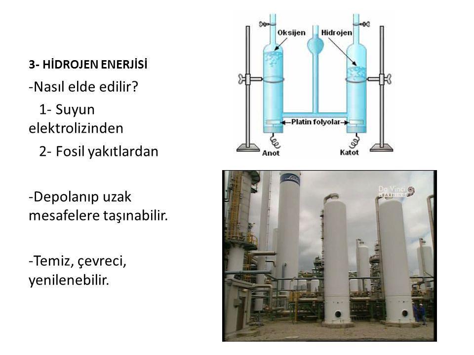 1- Suyun elektrolizinden 2- Fosil yakıtlardan