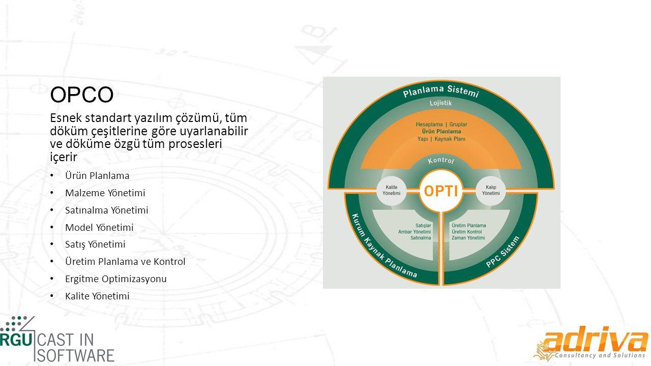 OPCO Esnek standart yazılım çözümü, tüm döküm çeşitlerine göre uyarlanabilir ve döküme özgü tüm prosesleri içerir.