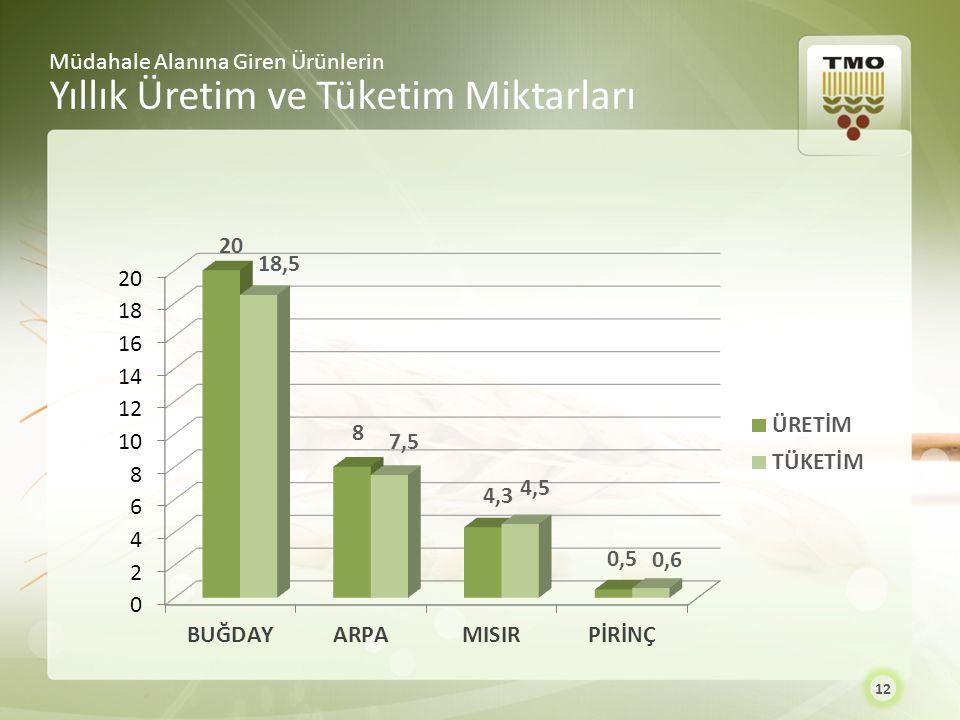 Yıllık Üretim ve Tüketim Miktarları
