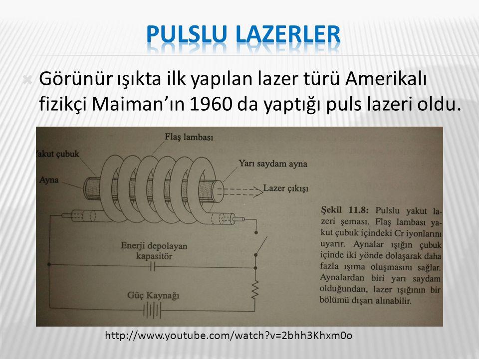 Pulslu lazerler Görünür ışıkta ilk yapılan lazer türü Amerikalı fizikçi Maiman'ın 1960 da yaptığı puls lazeri oldu.