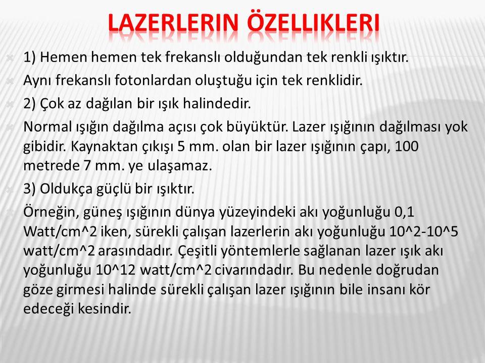 Lazerlerin özellikleri