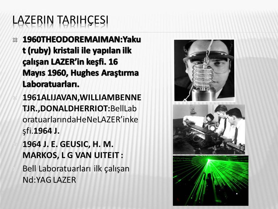 Lazerin tarihçesi 1960THEODOREMAIMAN:Yakut (ruby) kristali ile yapılan ilk çalışan LAZER'in keşfi. 16 Mayıs 1960, Hughes Araştırma Laboratuarları.