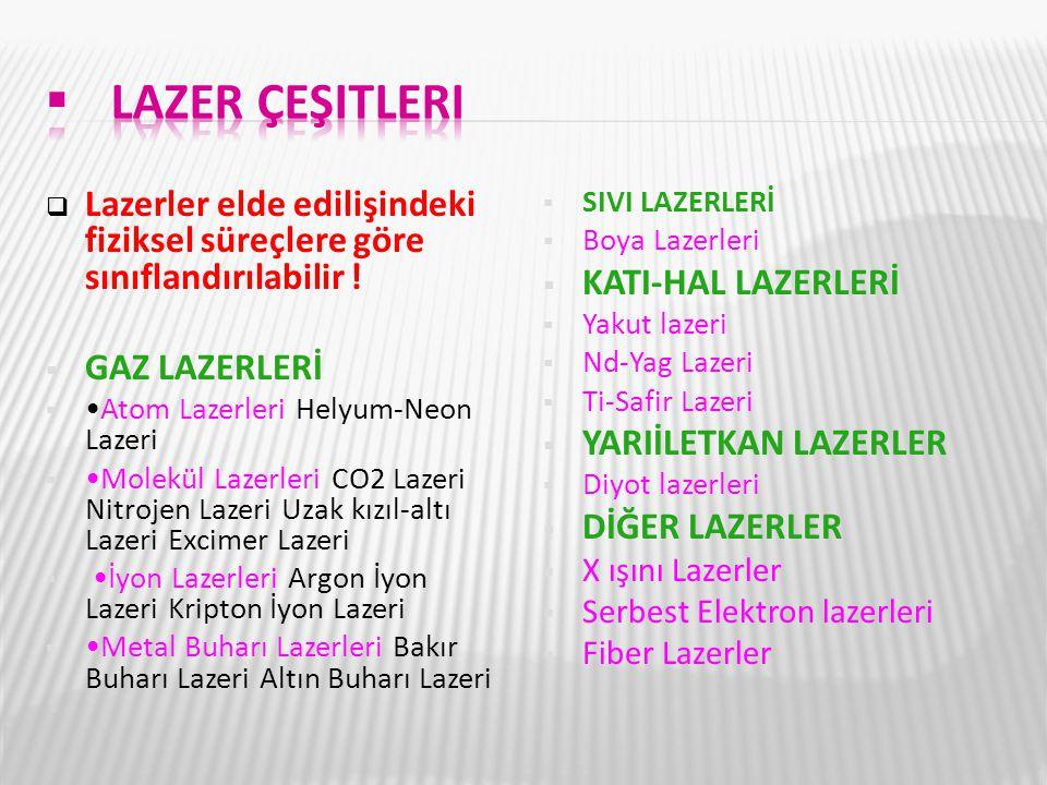 Lazer çeşitleri Lazerler elde edilişindeki fiziksel süreçlere göre sınıflandırılabilir ! GAZ LAZERLERİ.