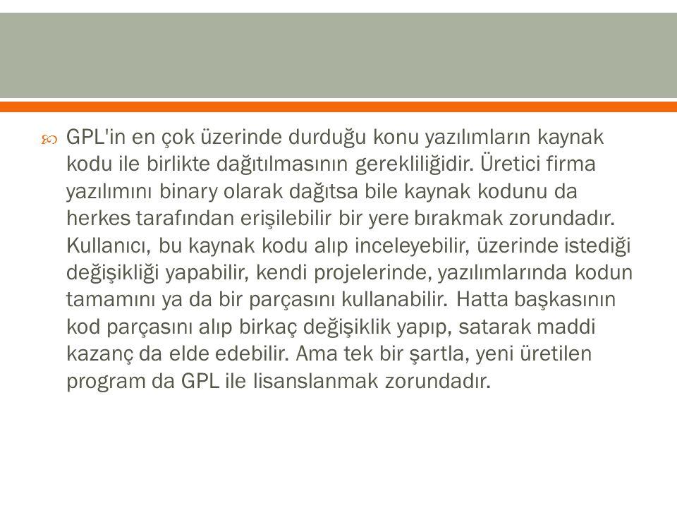 GPL in en çok üzerinde durduğu konu yazılımların kaynak kodu ile birlikte dağıtılmasının gerekliliğidir.