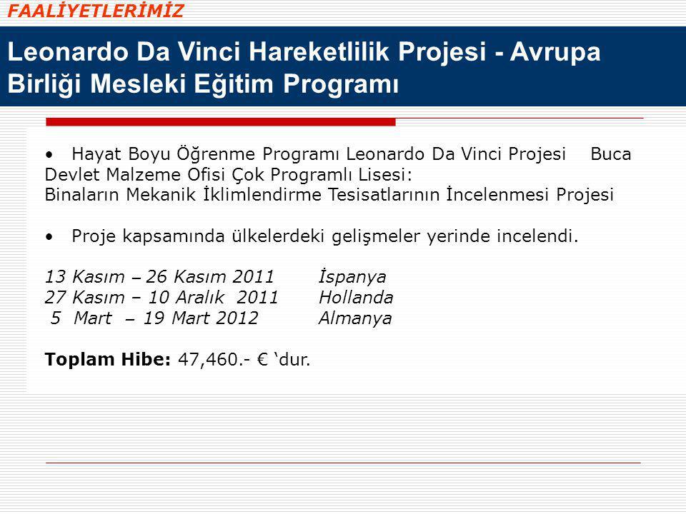 FAALİYETLERİMİZ Leonardo Da Vinci Hareketlilik Projesi - Avrupa Birliği Mesleki Eğitim Programı.
