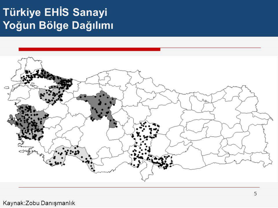 Türkiye EHİS Sanayi Yoğun Bölge Dağılımı Kaynak:Zobu Danışmanlık