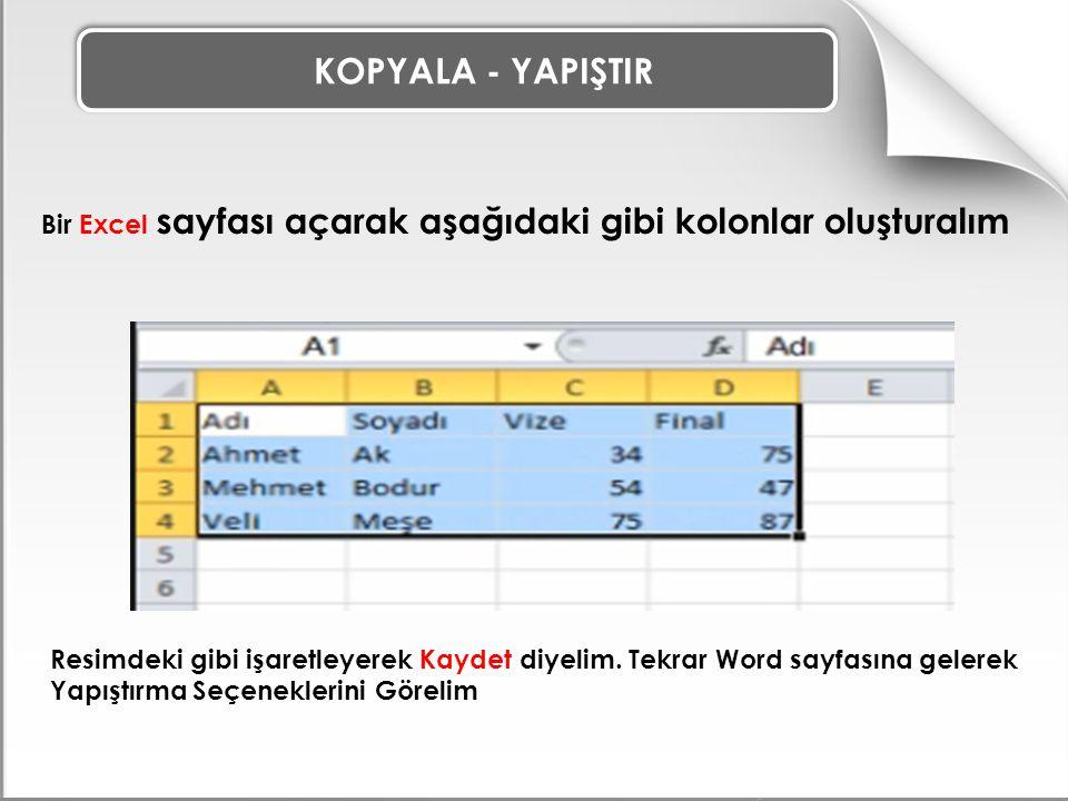 KOPYALA - YAPIŞTIR Bir Excel sayfası açarak aşağıdaki gibi kolonlar oluşturalım.