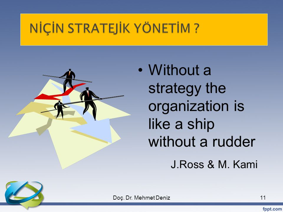 Without a strategy the organization is like a ship without a rudder