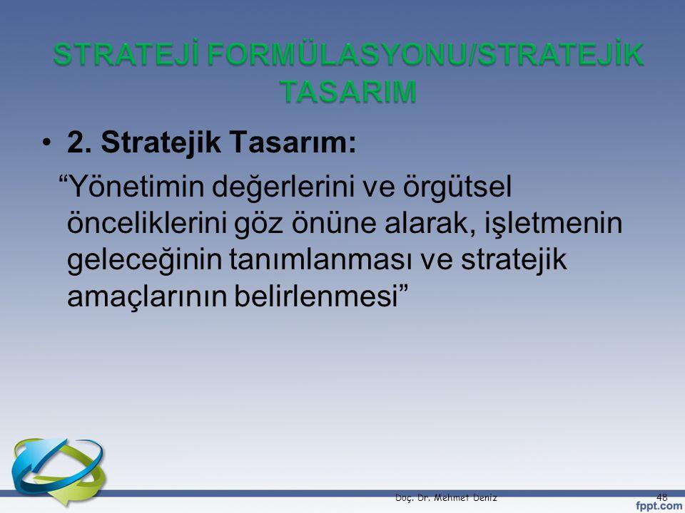 STRATEJİ FORMÜLASYONU/STRATEJİK TASARIM