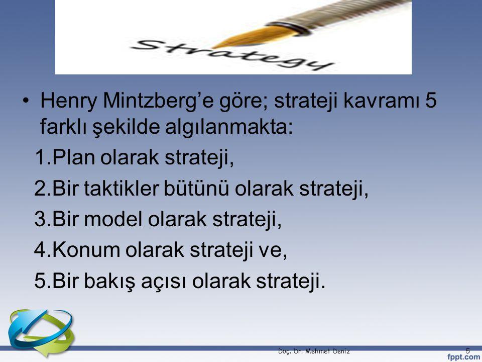 2.Bir taktikler bütünü olarak strateji, 3.Bir model olarak strateji,