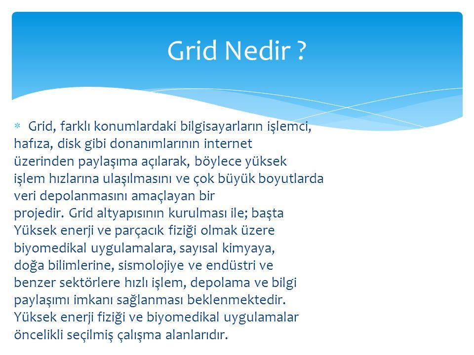 Grid Nedir Grid, farklı konumlardaki bilgisayarların işlemci,