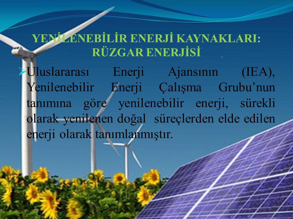 YENİLENEBİLİR ENERJİ KAYNAKLARI: RÜZGAR ENERJİSİ