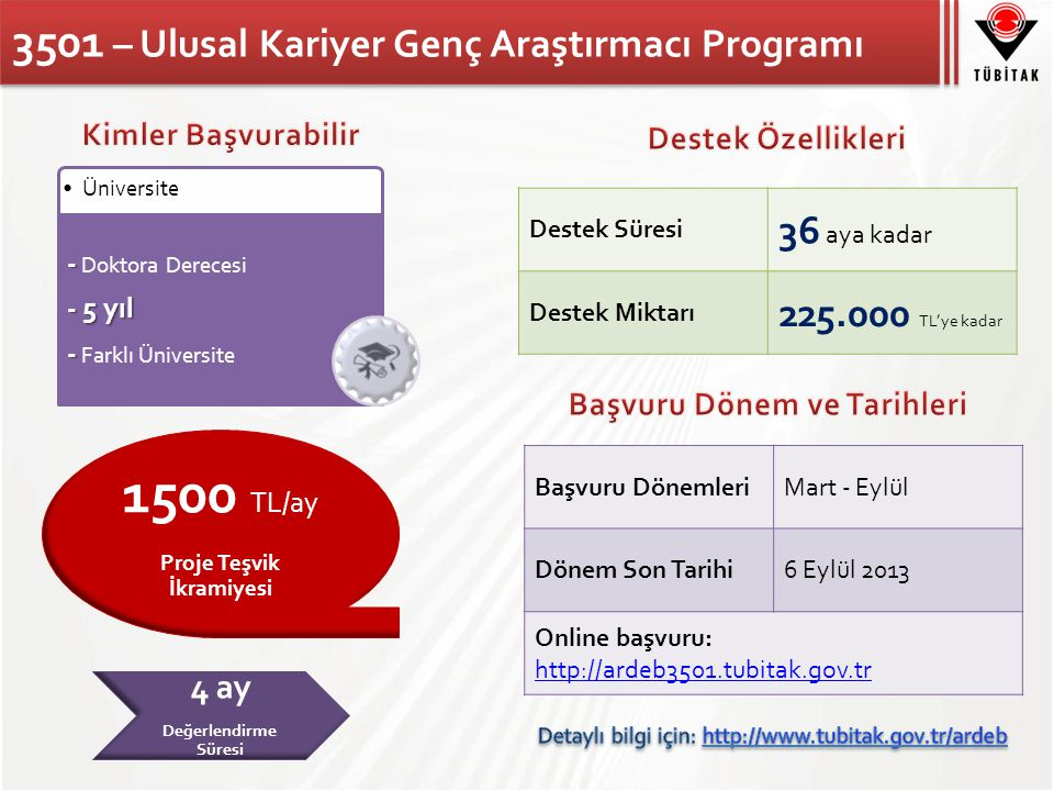 3501 – Ulusal Kariyer Genç Araştırmacı Programı