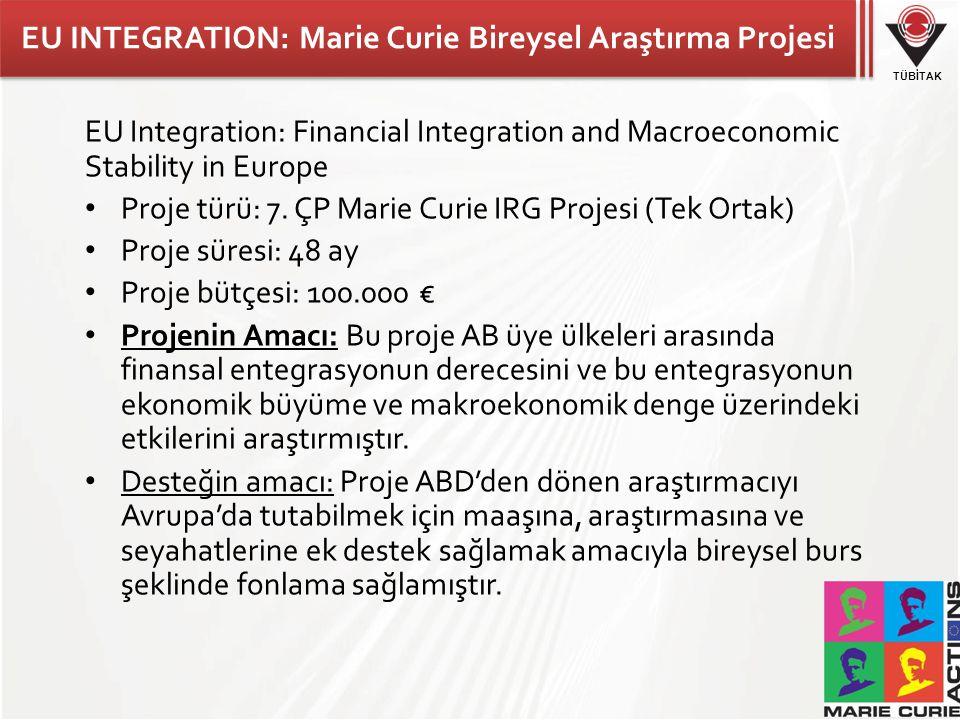 EU INTEGRATION: Marie Curie Bireysel Araştırma Projesi